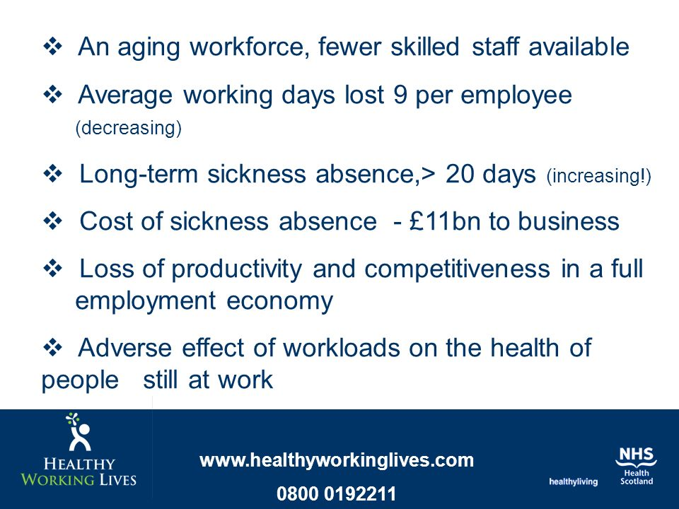 An aging workforce, fewer skilled staff available Average working days lost 9 per employee (decreasing) Long-term sickness absence,> 20 days (increasing!) Cost of sickness absence - £11bn to business Loss of productivity and competitiveness in a full employment economy Adverse effect of workloads on the health of people still at work