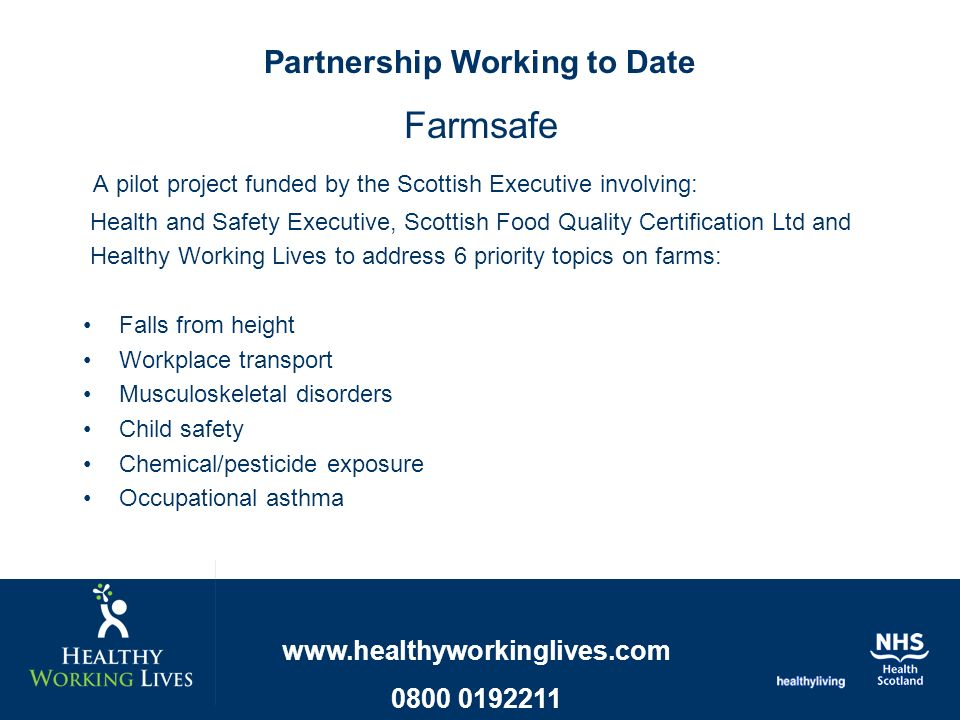 Farmsafe A pilot project funded by the Scottish Executive involving: Health and Safety Executive, Scottish Food Quality Certification Ltd and Healthy Working Lives to address 6 priority topics on farms: Falls from height Workplace transport Musculoskeletal disorders Child safety Chemical/pesticide exposure Occupational asthma Partnership Working to Date