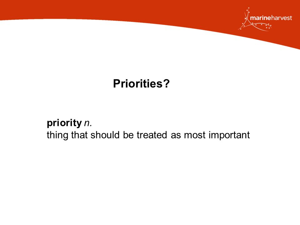 Priorities priority n. thing that should be treated as most important