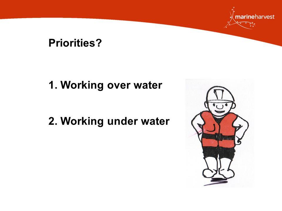 Priorities 1. Working over water 2. Working under water