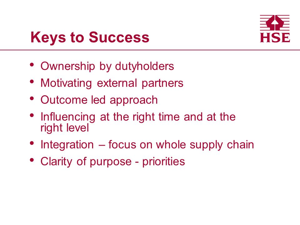 Keys to Success Ownership by dutyholders Motivating external partners Outcome led approach Influencing at the right time and at the right level Integration – focus on whole supply chain Clarity of purpose - priorities