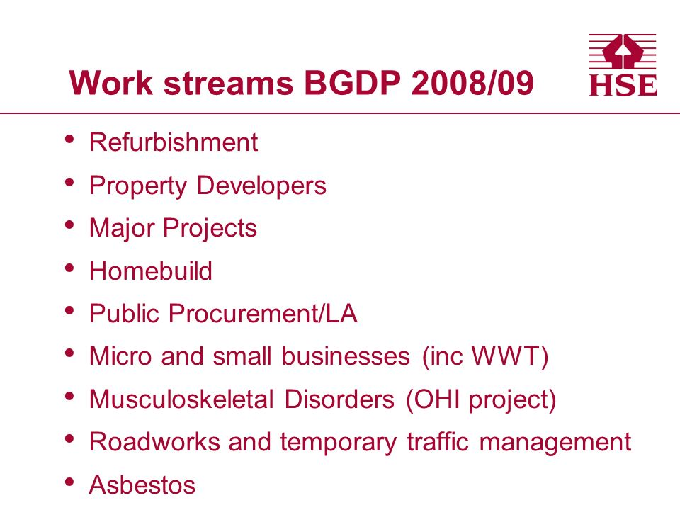 Work streams BGDP 2008/09 Refurbishment Property Developers Major Projects Homebuild Public Procurement/LA Micro and small businesses (inc WWT) Musculoskeletal Disorders (OHI project) Roadworks and temporary traffic management Asbestos