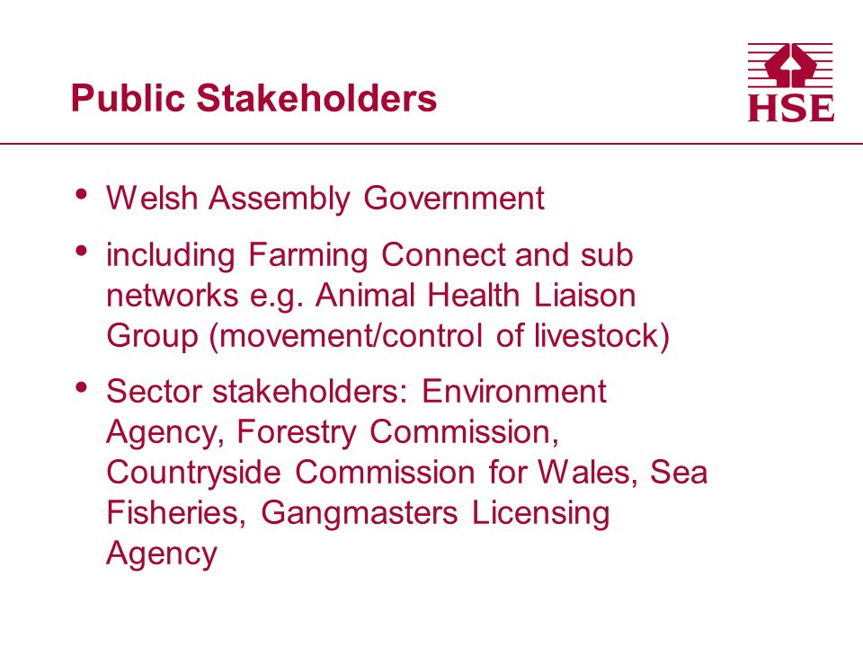 Public Stakeholders Welsh Assembly Government including Farming Connect and sub networks e.g.
