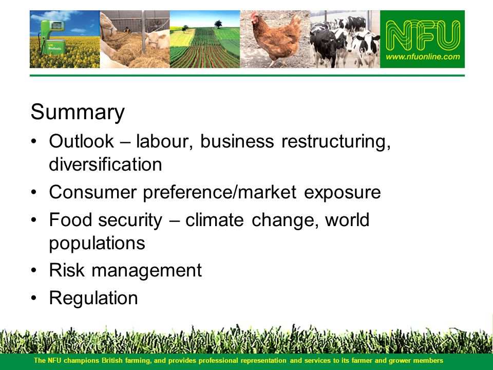 Summary Outlook – labour, business restructuring, diversification Consumer preference/market exposure Food security – climate change, world population