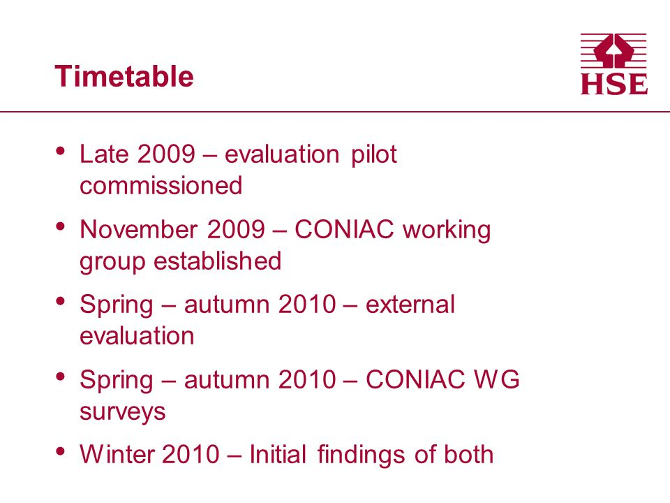 Timetable Late 2009 – evaluation pilot commissioned November 2009 – CONIAC working group established Spring – autumn 2010 – external evaluation Spring – autumn 2010 – CONIAC WG surveys Winter 2010 – Initial findings of both
