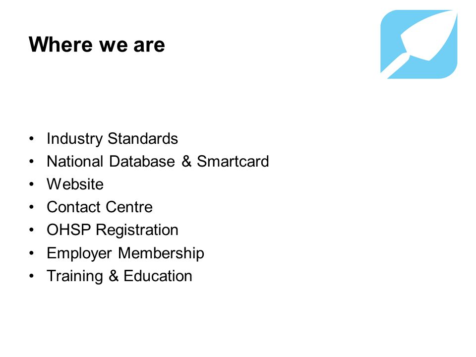 Where we are Industry Standards National Database & Smartcard Website Contact Centre OHSP Registration Employer Membership Training & Education