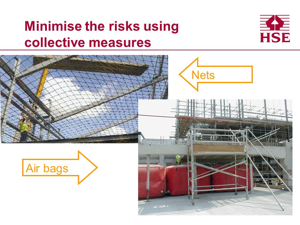 Minimise the risks using collective measures Nets Air bags