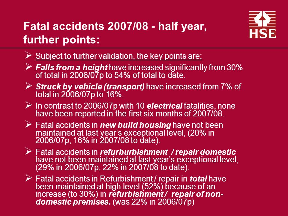 Fatal accidents 2007/08 - half year, further points: Subject to further validation, the key points are: Falls from a height have increased significantly from 30% of total in 2006/07p to 54% of total to date.