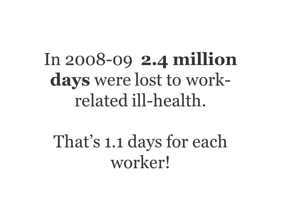 In 2008-09 2.4 million days were lost to work- related ill-health. Thats 1.1 days for each worker!