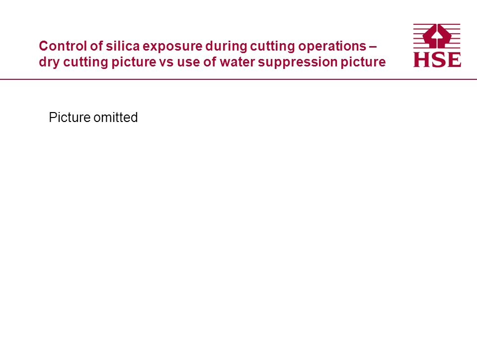 Control of silica exposure during cutting operations – dry cutting picture vs use of water suppression picture Picture omitted