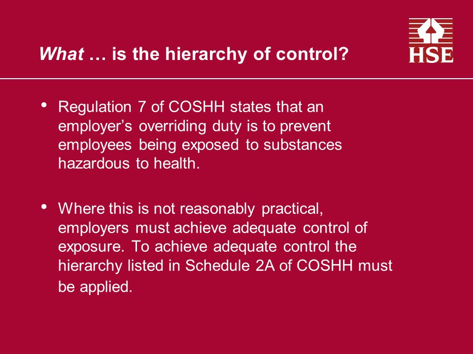What … is the hierarchy of control.