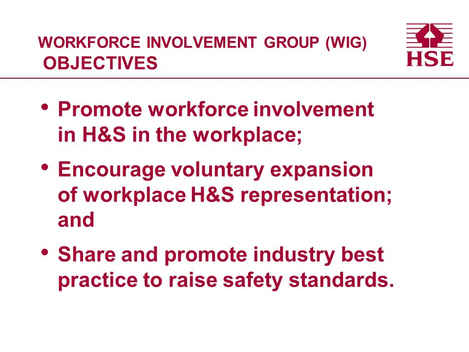 WORKFORCE INVOLVEMENT GROUP (WIG) OBJECTIVES Promote workforce involvement in H&S in the workplace; Encourage voluntary expansion of workplace H&S representation; and Share and promote industry best practice to raise safety standards.