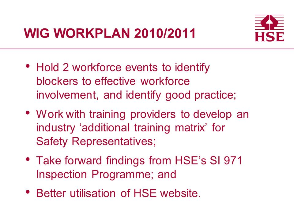 WIG WORKPLAN 2010/2011 Hold 2 workforce events to identify blockers to effective workforce involvement, and identify good practice; Work with training providers to develop an industry additional training matrix for Safety Representatives; Take forward findings from HSEs SI 971 Inspection Programme; and Better utilisation of HSE website.