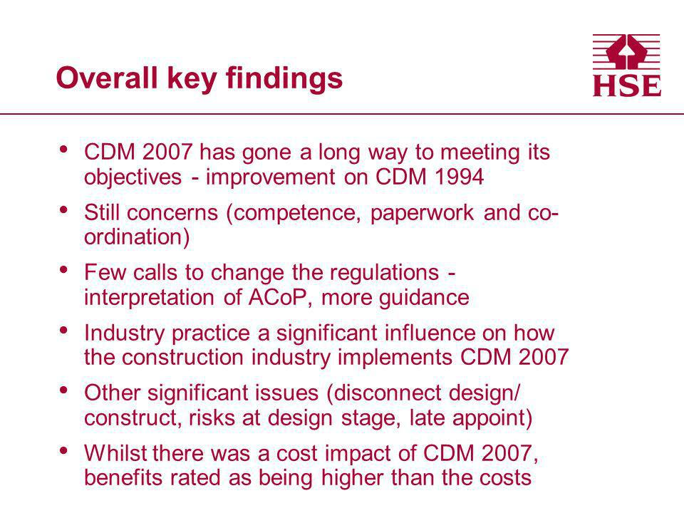 Overall key findings CDM 2007 has gone a long way to meeting its objectives - improvement on CDM 1994 Still concerns (competence, paperwork and co- or