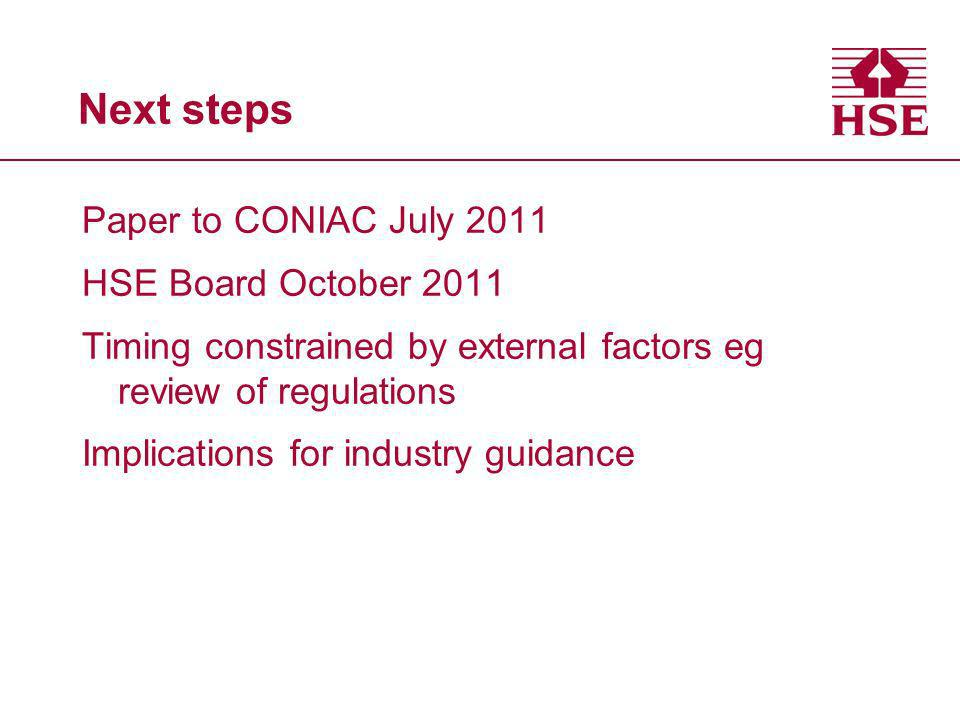 Next steps Paper to CONIAC July 2011 HSE Board October 2011 Timing constrained by external factors eg review of regulations Implications for industry guidance