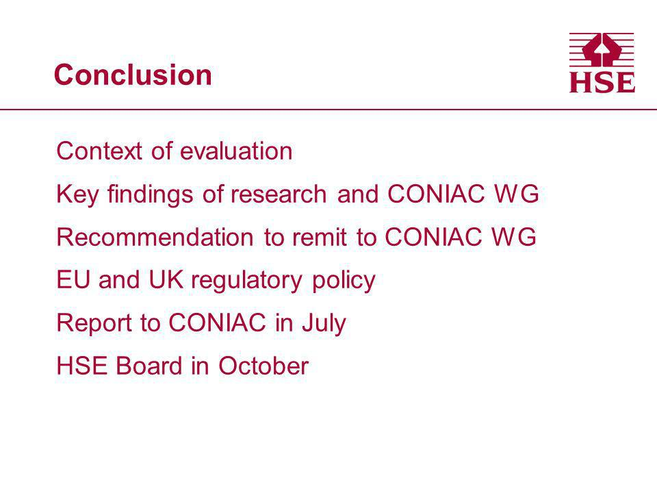 Conclusion Context of evaluation Key findings of research and CONIAC WG Recommendation to remit to CONIAC WG EU and UK regulatory policy Report to CON