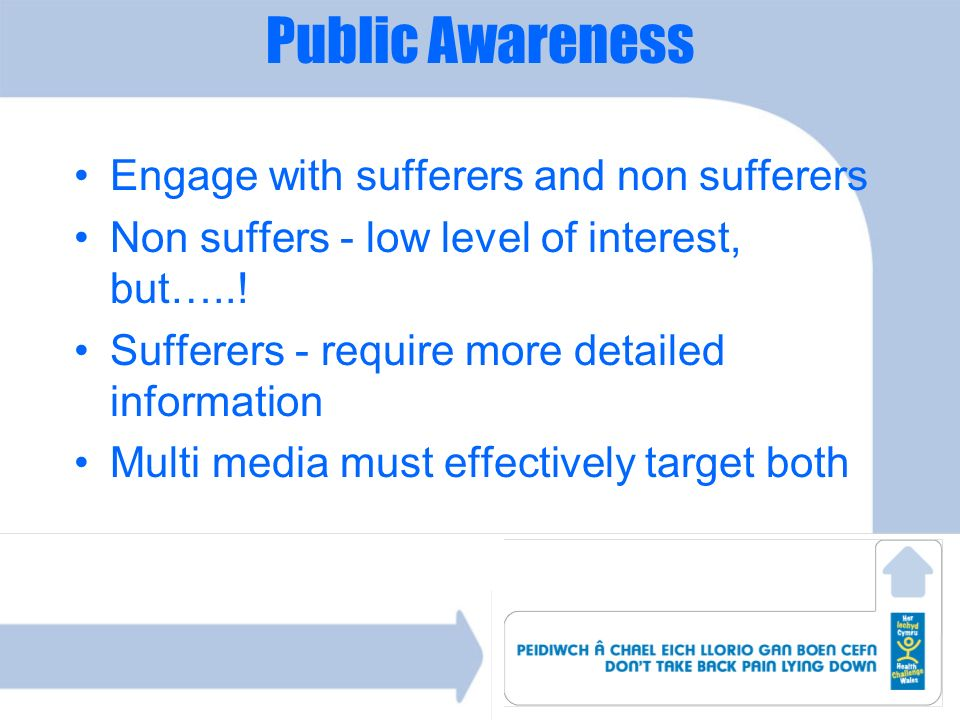 Public Awareness Engage with sufferers and non sufferers Non suffers - low level of interest, but…..! Sufferers - require more detailed information Mu
