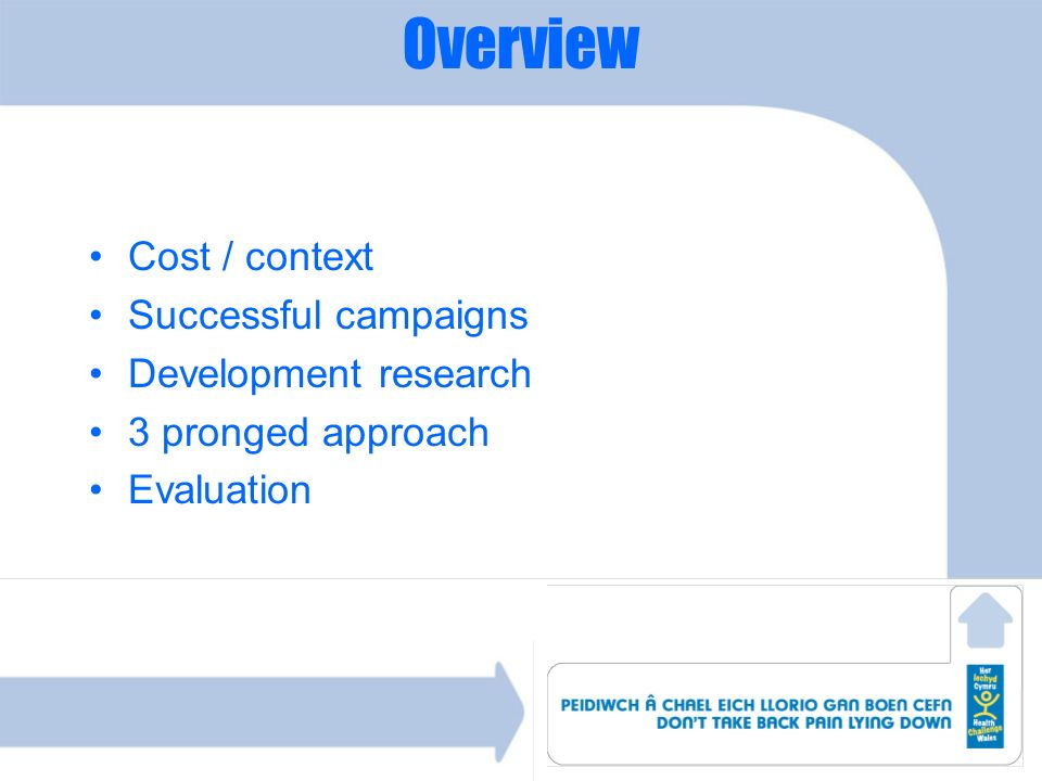 Overview Cost / context Successful campaigns Development research 3 pronged approach Evaluation