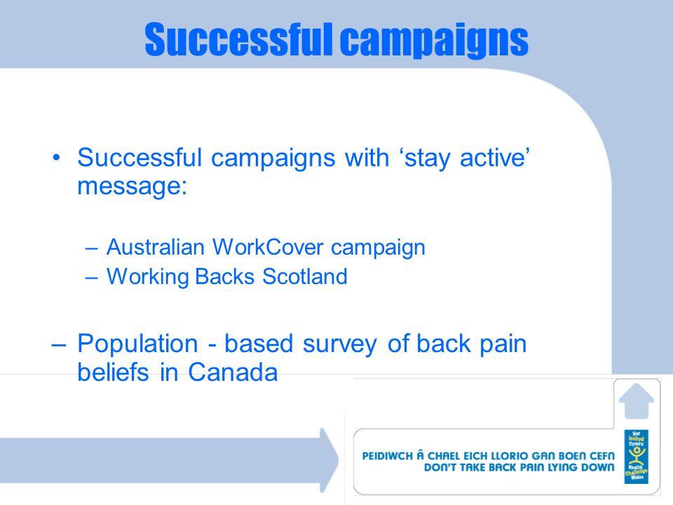 Successful campaigns Successful campaigns with stay active message: –Australian WorkCover campaign –Working Backs Scotland –Population - based survey