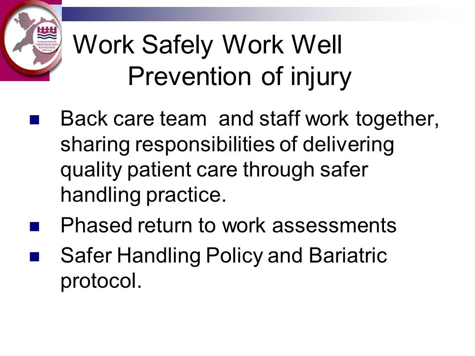 Work Safely Work Well Prevention of injury Back care team and staff work together, sharing responsibilities of delivering quality patient care through