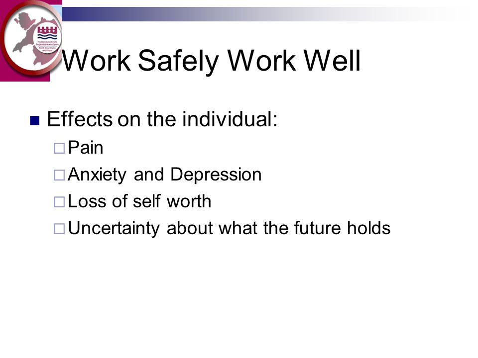 Work Safely Work Well Effects on the individual: Pain Anxiety and Depression Loss of self worth Uncertainty about what the future holds