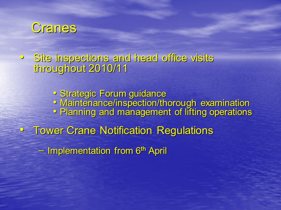 Cranes Site inspections and head office visits throughout 2010/11 Site inspections and head office visits throughout 2010/11 Strategic Forum guidance