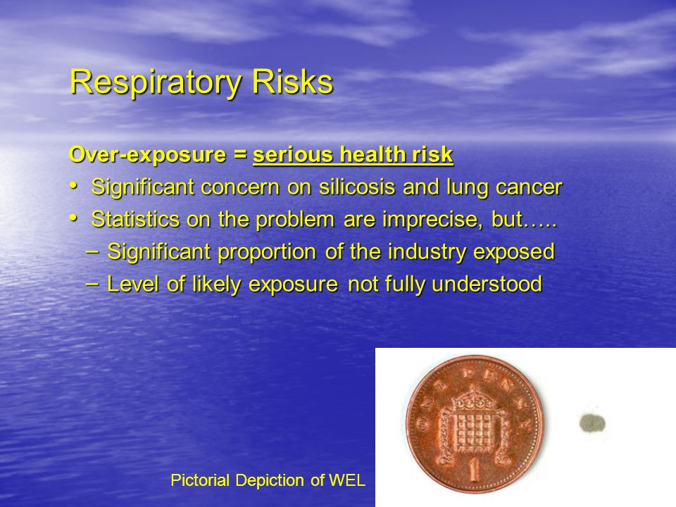 Respiratory Risks Respiratory Risks Over-exposure = serious health risk Significant concern on silicosis and lung cancer Significant concern on silico