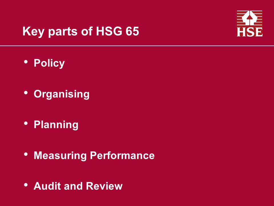 Key parts of HSG 65 Policy Organising Planning Measuring Performance Audit and Review