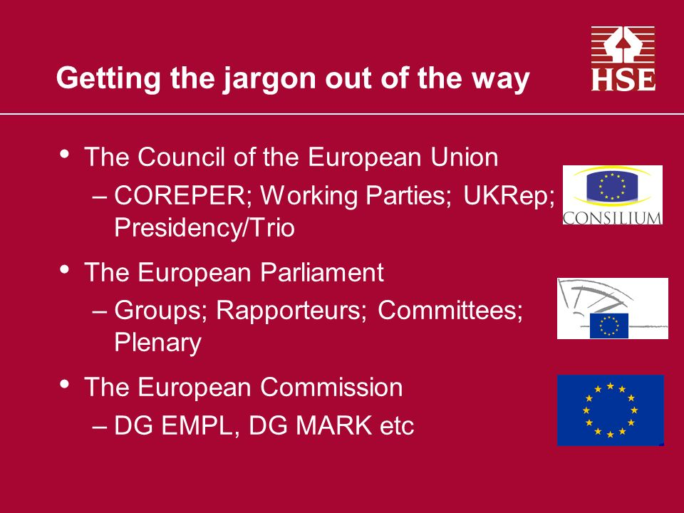 Getting the jargon out of the way The Council of the European Union –COREPER; Working Parties; UKRep; Presidency/Trio The European Parliament –Groups; Rapporteurs; Committees; Plenary The European Commission –DG EMPL, DG MARK etc