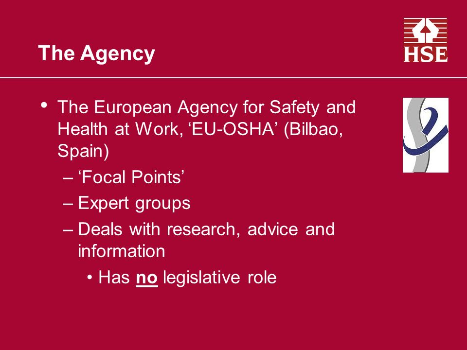 The Agency The European Agency for Safety and Health at Work, EU-OSHA (Bilbao, Spain) –Focal Points –Expert groups –Deals with research, advice and information Has no legislative role