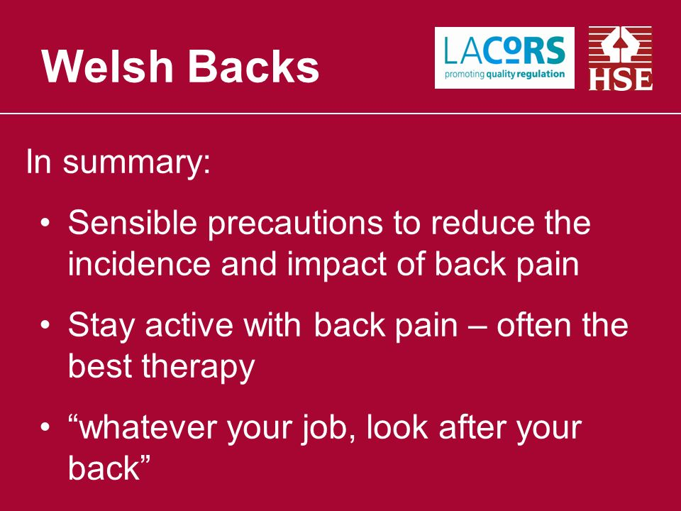 In summary: Sensible precautions to reduce the incidence and impact of back pain Stay active with back pain – often the best therapy whatever your job, look after your back Welsh Backs