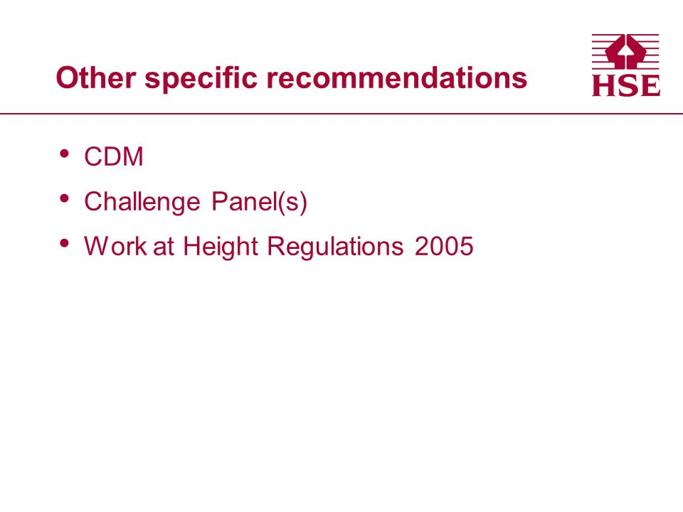Other specific recommendations CDM Challenge Panel(s) Work at Height Regulations 2005