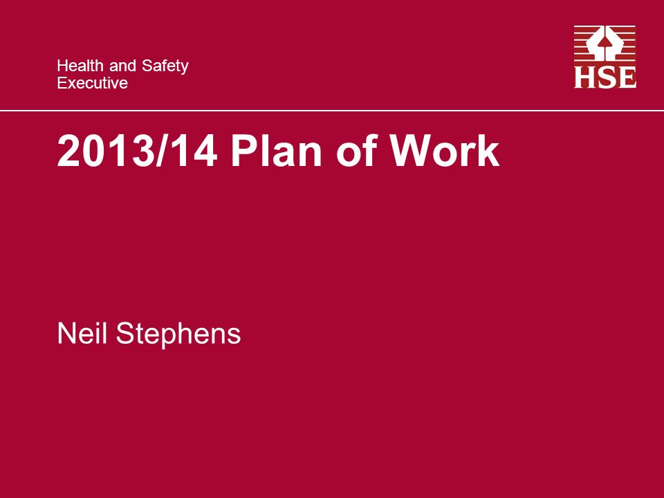 Health and Safety Executive 2013/14 Plan of Work Neil Stephens