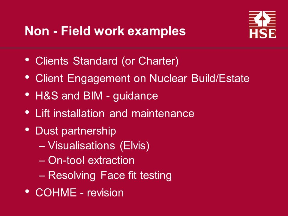 Non - Field work examples Clients Standard (or Charter) Client Engagement on Nuclear Build/Estate H&S and BIM - guidance Lift installation and mainten