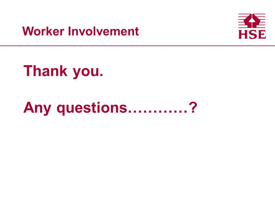 Worker Involvement Thank you. Any questions…………?