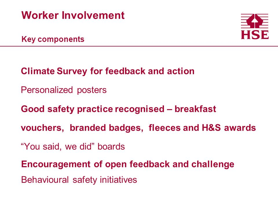 Worker Involvement Key components Climate Survey for feedback and action Personalized posters Good safety practice recognised – breakfast vouchers, br