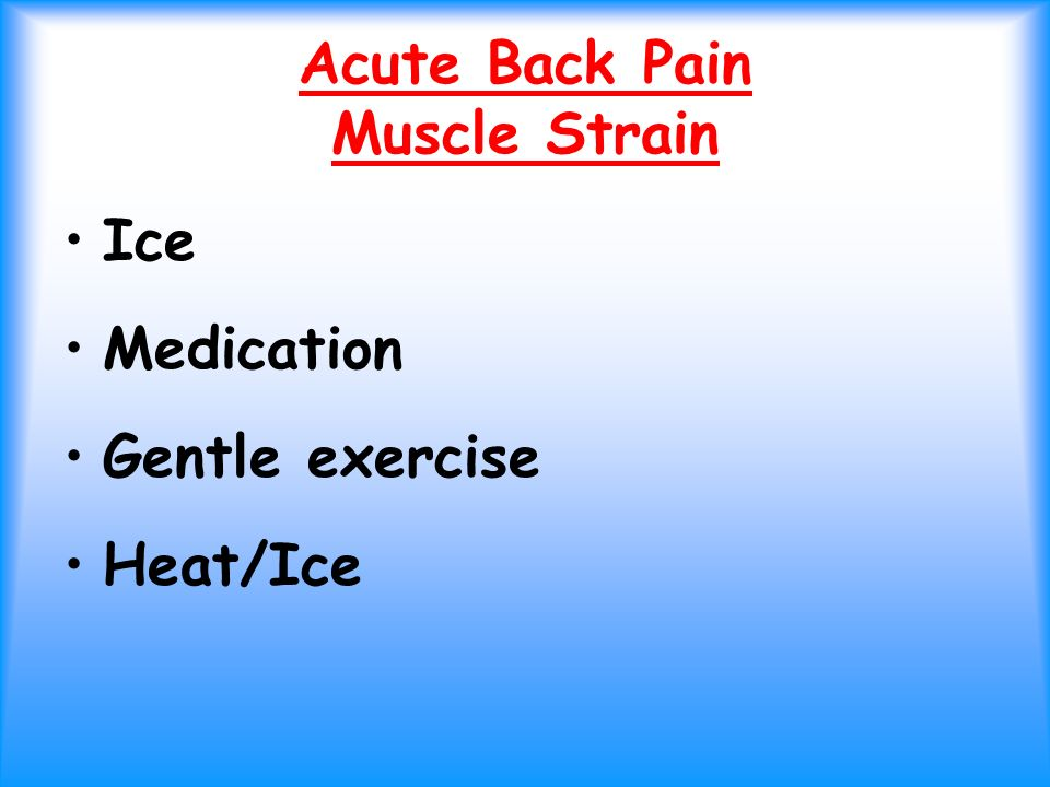 Acute Back Pain Muscle Strain Ice Medication Gentle exercise Heat/Ice