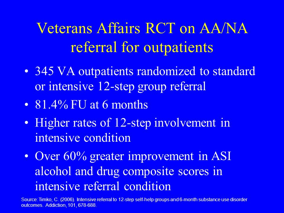 Veterans Affairs RCT on AA/NA referral for outpatients 345 VA outpatients randomized to standard or intensive 12-step group referral 81.4% FU at 6 months Higher rates of 12-step involvement in intensive condition Over 60% greater improvement in ASI alcohol and drug composite scores in intensive referral condition Source: Timko, C.