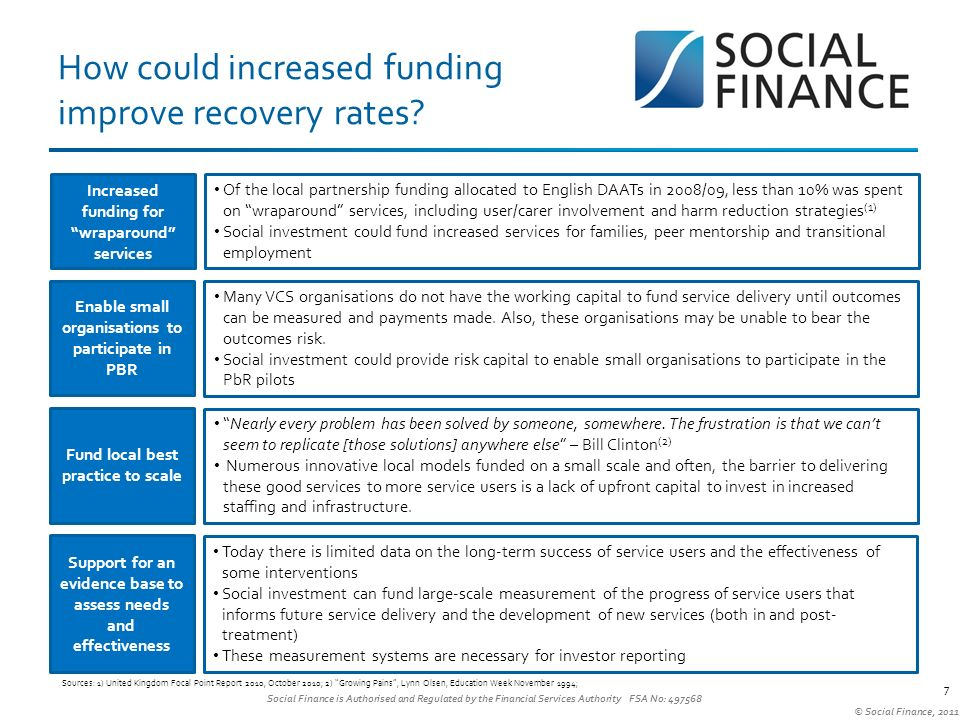Social Finance is Authorised and Regulated by the Financial Services Authority FSA No: 497568 © Social Finance, 2011 How could increased funding improve recovery rates.