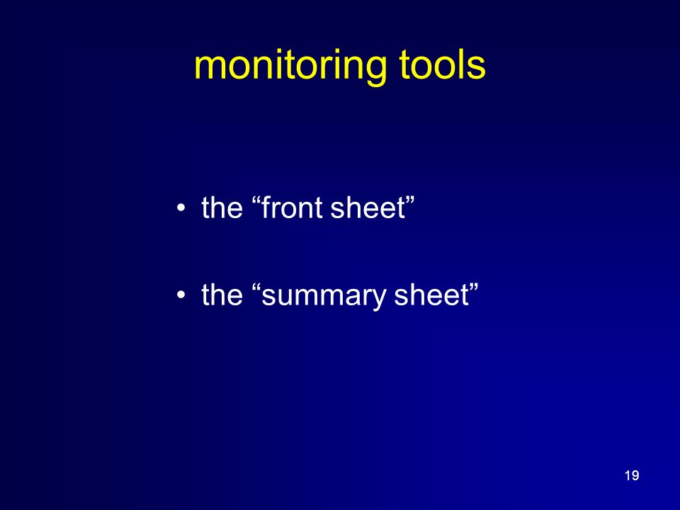 19 monitoring tools the front sheet the summary sheet