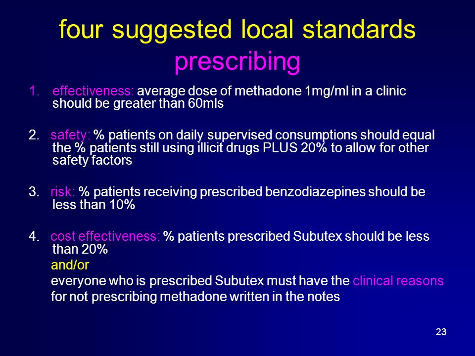 23 four suggested local standards prescribing 1.effectiveness: average dose of methadone 1mg/ml in a clinic should be greater than 60mls 2.