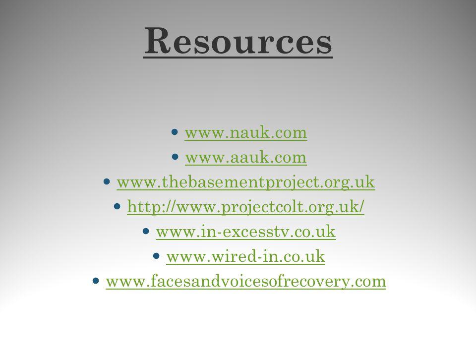 Resources www.nauk.com www.aauk.com www.thebasementproject.org.uk http://www.projectcolt.org.uk/ www.in-excesstv.co.uk www.wired-in.co.uk www.facesand
