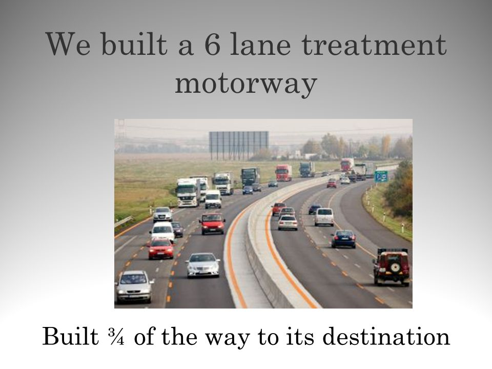 We built a 6 lane treatment motorway Built ¾ of the way to its destination