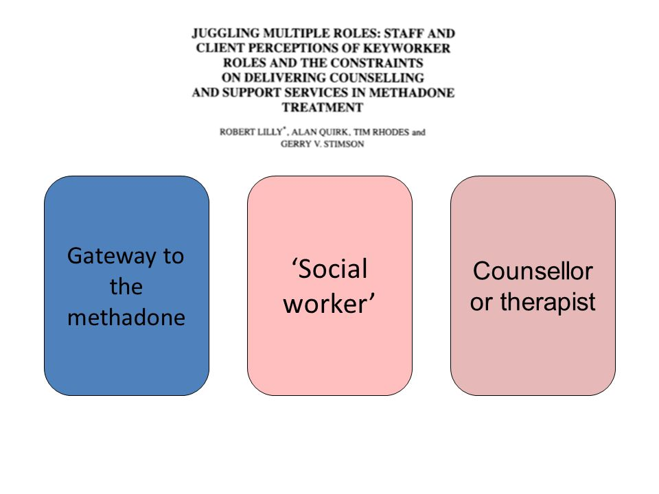 Gateway to the methadone Counsellor or therapist Social worker