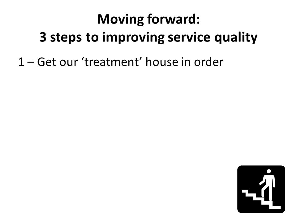 Moving forward: 3 steps to improving service quality 1 – Get our treatment house in order
