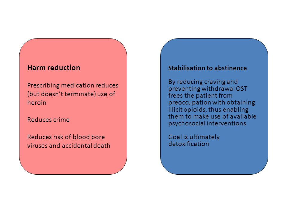 Harm reduction Prescribing medication reduces (but doesnt terminate) use of heroin Reduces crime Reduces risk of blood bore viruses and accidental death Stabilisation to abstinence By reducing craving and preventing withdrawal OST frees the patient from preoccupation with obtaining illicit opioids, thus enabling them to make use of available psychosocial interventions Goal is ultimately detoxification
