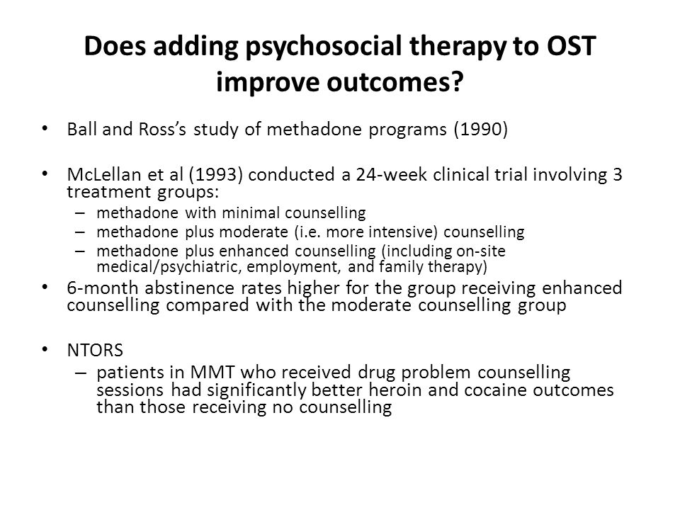 Does adding psychosocial therapy to OST improve outcomes.