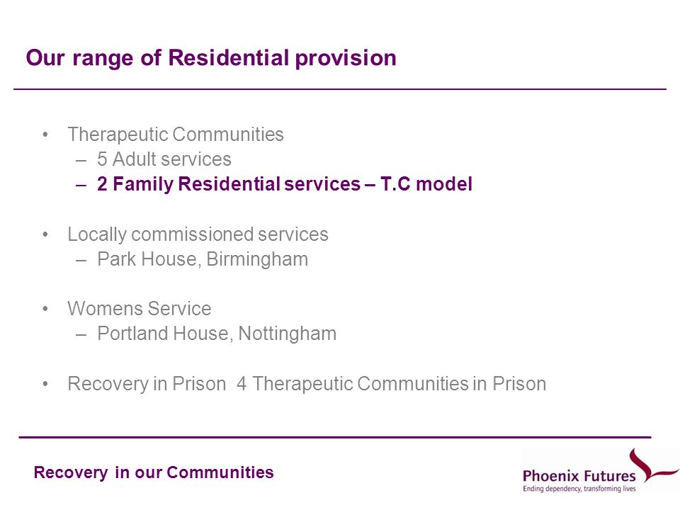 Recovery in our Communities Our range of Residential provision Therapeutic Communities –5 Adult services –2 Family Residential services – T.C model Locally commissioned services –Park House, Birmingham Womens Service –Portland House, Nottingham Recovery in Prison 4 Therapeutic Communities in Prison
