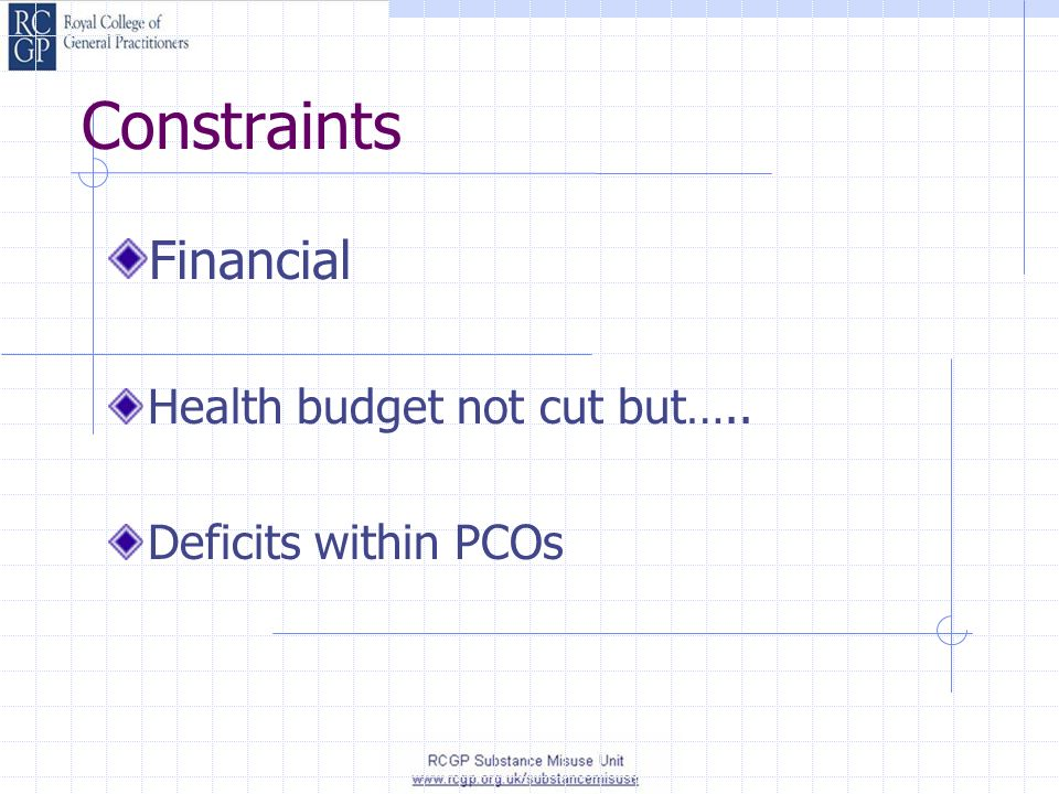 Constraints Financial Health budget not cut but….. Deficits within PCOs