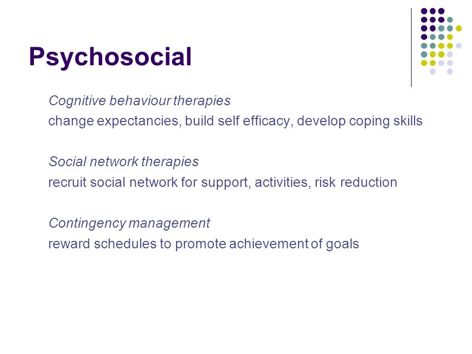 Psychosocial Cognitive behaviour therapies change expectancies, build self efficacy, develop coping skills Social network therapies recruit social net